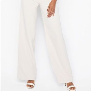 Express twill wide leg white work pant